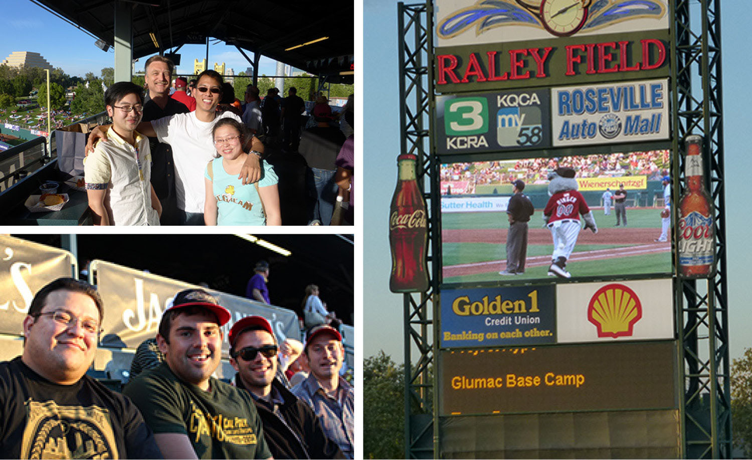 Taking in the excitement at the River Cats baseball game. Glumac Base Campers recognized at the game!