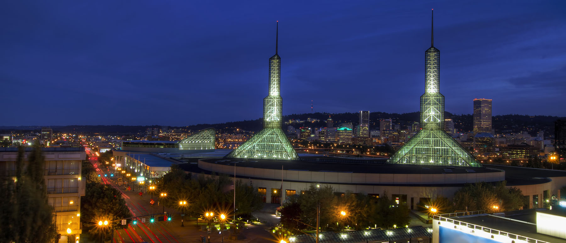 Oregon Convention Center with Portland Downtown Skyline at Blue Hour 2